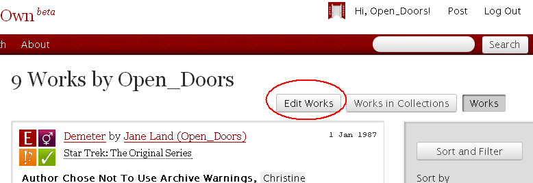 The My Works page showing the options Edit Works, Works in Collections, and Works. The Edit Works button is highlighted.