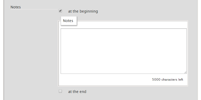 Notes section that appears after checking that you want to insert a note