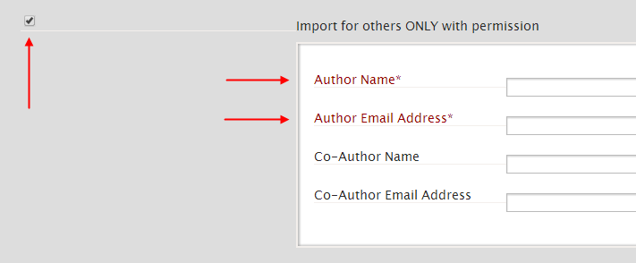 Ang checkbox para sa 'Import for others,' na may sapilitang patlang para sa maykatha at sa email address, at opsyonal na mga patlang para sa pangalan ng kapwa-maykatha at ang kanilang email address.