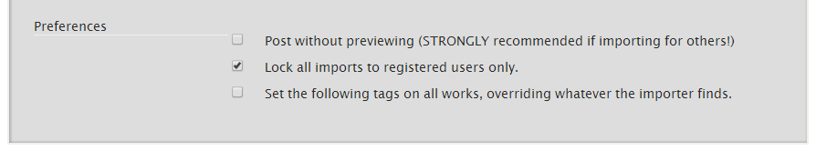 Second checkbox locks imports to registered users only